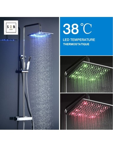 Colonne de douche led, thermostatique, Shower 25 x 25 cm