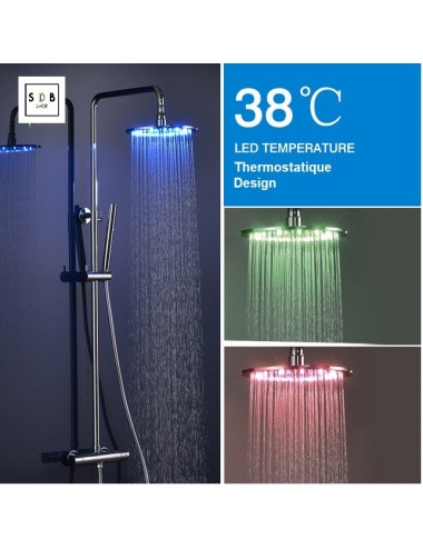 Colonne de douche led, thermostatique, Shower Ø 25 cm