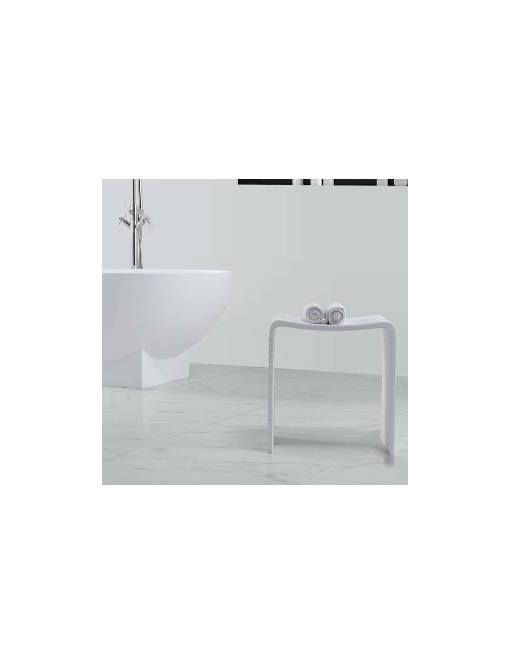 Swen, tabouret de bain 400x300x430 mm Solid surface
