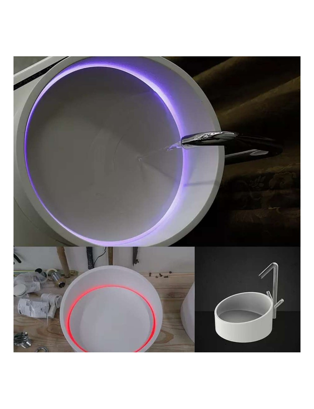 Light, vasque Led solid surface