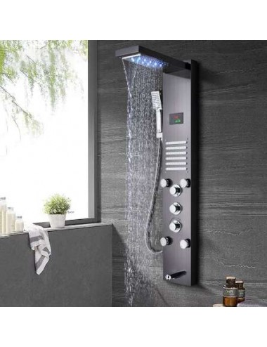 Nevio, panneau de douche led thermostatique