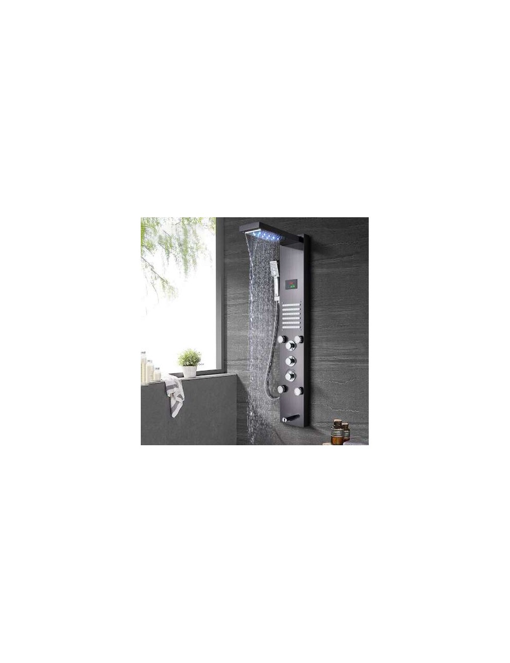 nevio panneau de douche led thermostatique salledebains. Black Bedroom Furniture Sets. Home Design Ideas