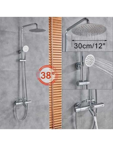 Naso, colonne bain douche thermostatique chrome