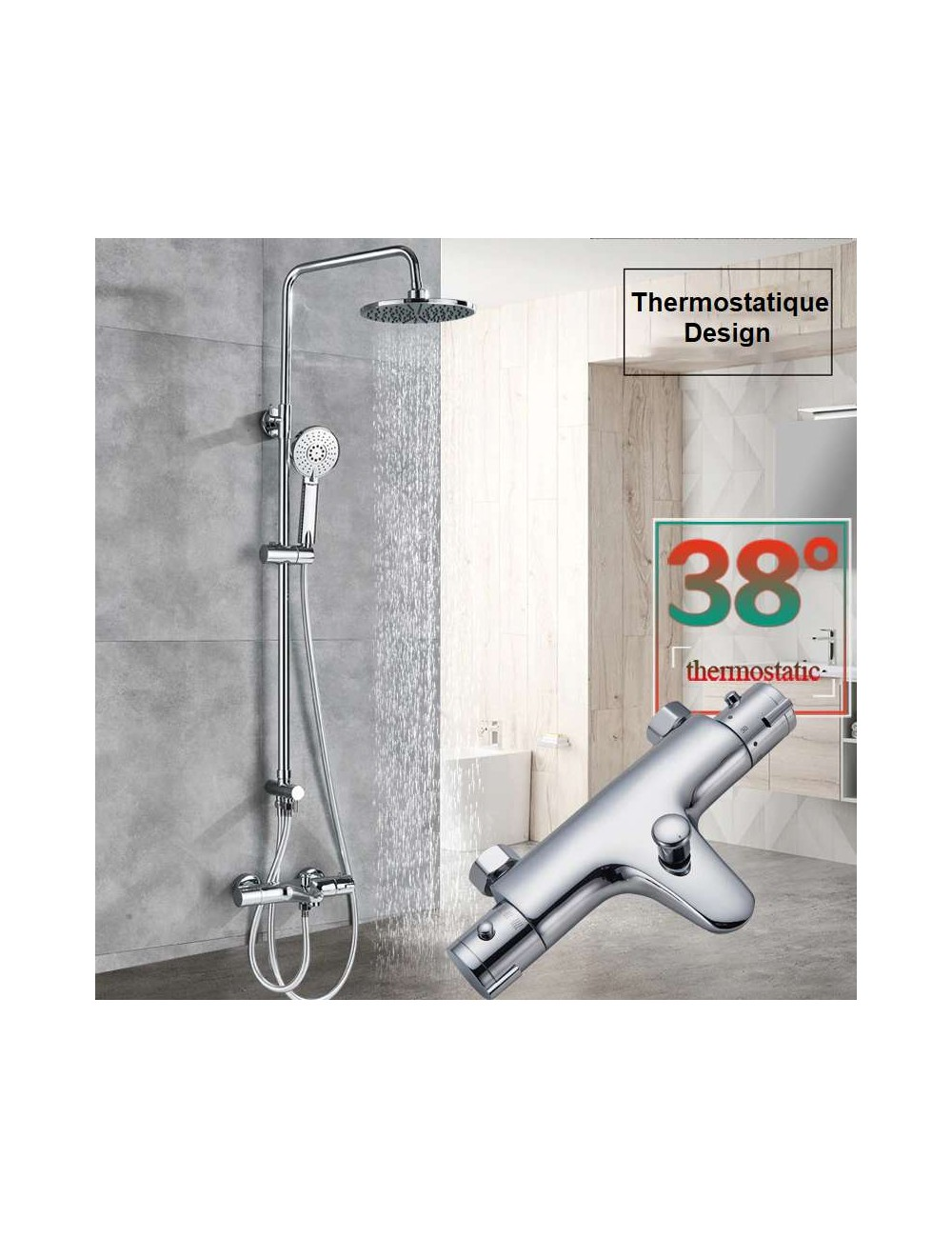 Nalso, colonne bain douche design thermostatique