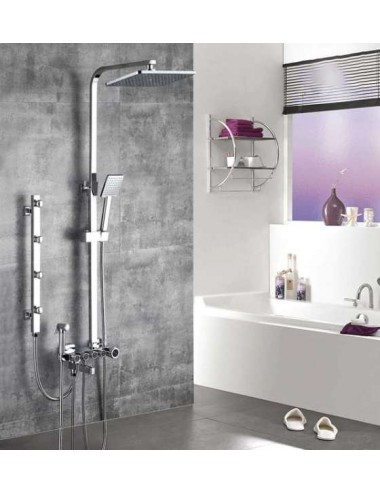 Calti, colonne bain douche systèùe push chrome