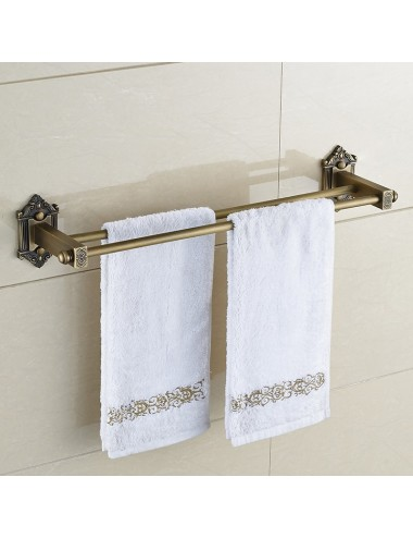 Collection Zeus, porte-serviette double 60 cm, finition bronze