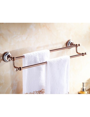 Collection Pol&, porte serviette double, Or rose 60 cm