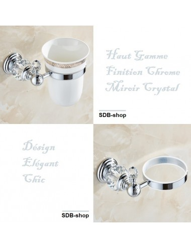 Collection Emilio, ,porte balayette, chrome poli & crystal