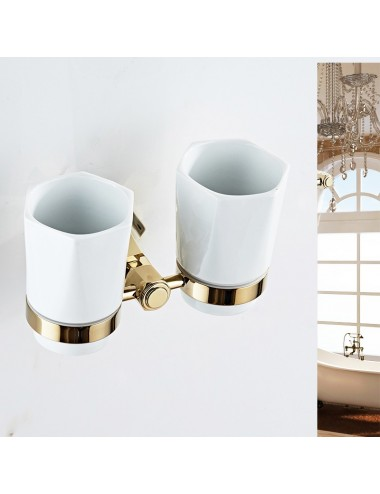 Collection Lux, porte verre duo, or