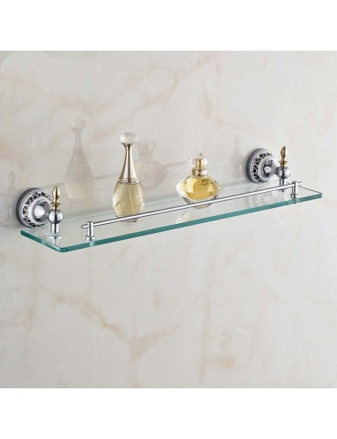 Collection Lus, tablette verre, chrome poli - salledebains-shop.com