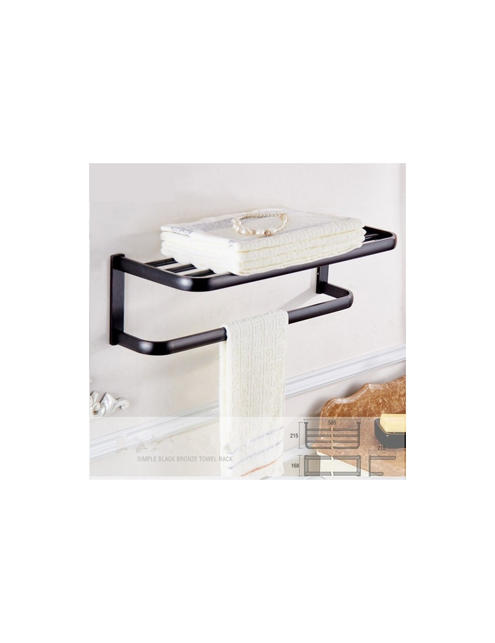 Collection rio rack porte serviette orb noir 60 cm for Porte 60 cm de large