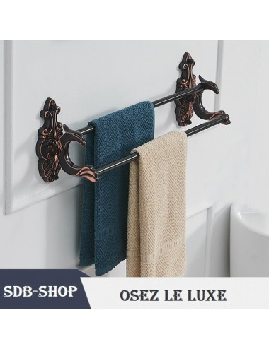 Collection Dragon, double porte serviette rack incurvé 60 cm